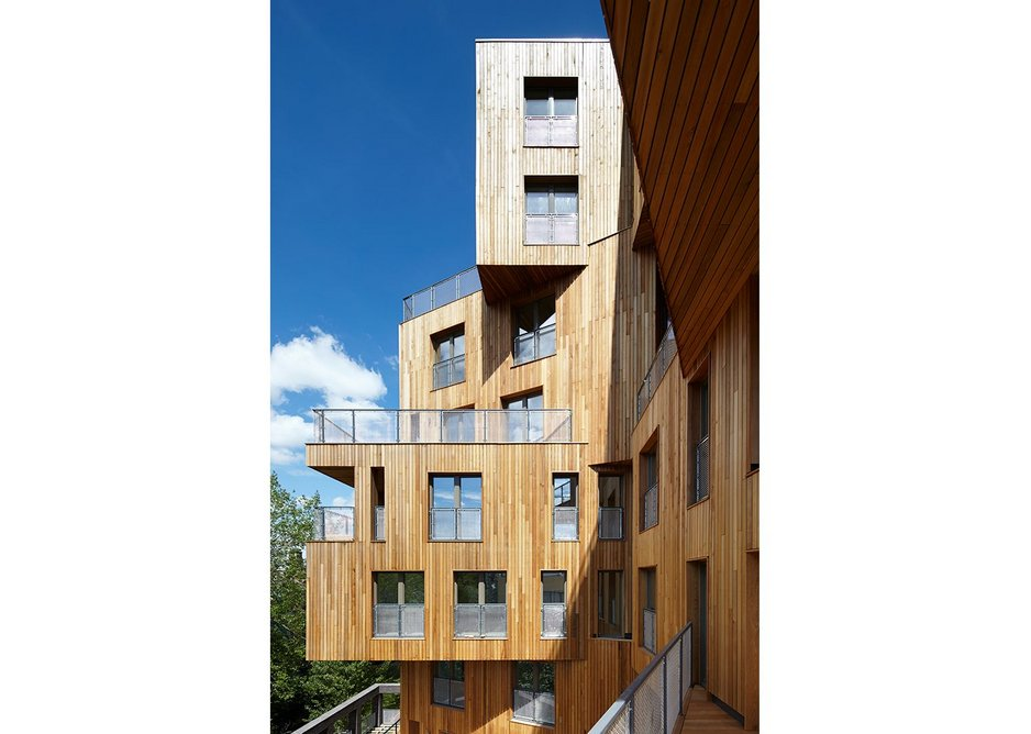 Wenlock Cross, London, by HawkinsBrown uses engineered timber alongside a steel structure.