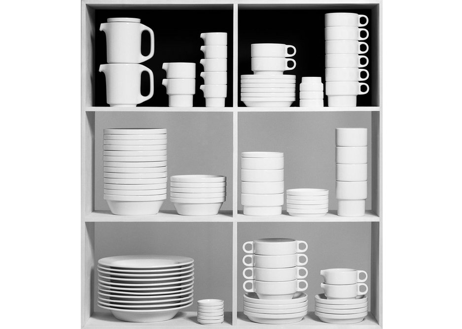 TC 100 stacking catering service, designed by product design diploma student Hans (Nick) Roericht for Manufacturer: Rosenthal AG,1959. Photo by Wolfgang Siol, courtesy HfG-Archiv/Ulmer Museum.