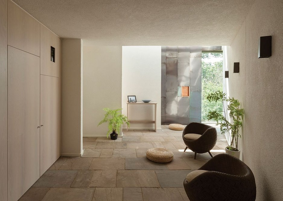 Brighter and brighter daylit space draws you towards the back of the peace room, Y Dawel.