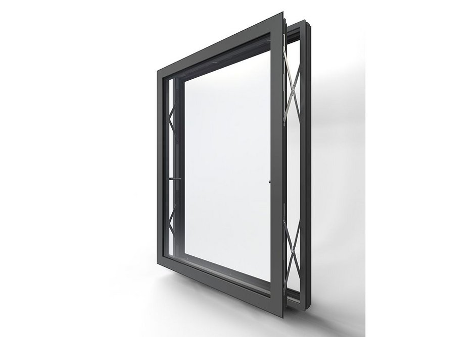 The Pure parallel push window has hinges on all sides so it can be pushed open yet remain parallel to the wall, giving maximum ventilation while keeping occupants safe.