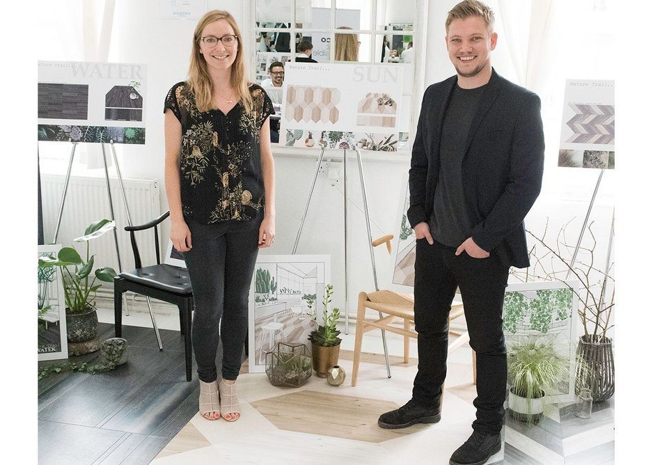 TP Bennett's Emily Hume and Ben Boxshall with their Nature Trail collection.