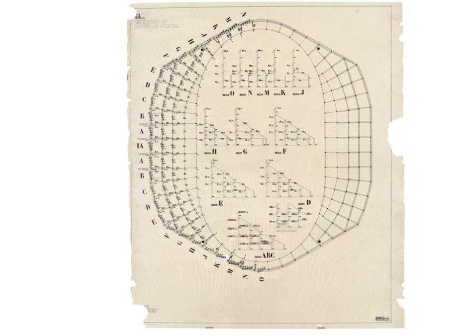Karl Egender, Wilhelm Müller, Floor plan and sectional views: supports, beams, Indoor stadium, Zurich, Switzerland, 1938 © gta Archives, ETH Zurich: 44-0159-728.