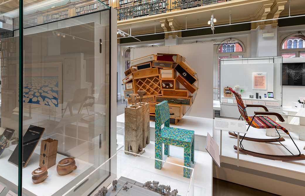 Installation shot of the new Design 1900 – Now gallery at the V&A. In the centre is Jane Atfield's Made of Waste chair with Droog's Chest of Drawers designed by Tejo Remy.