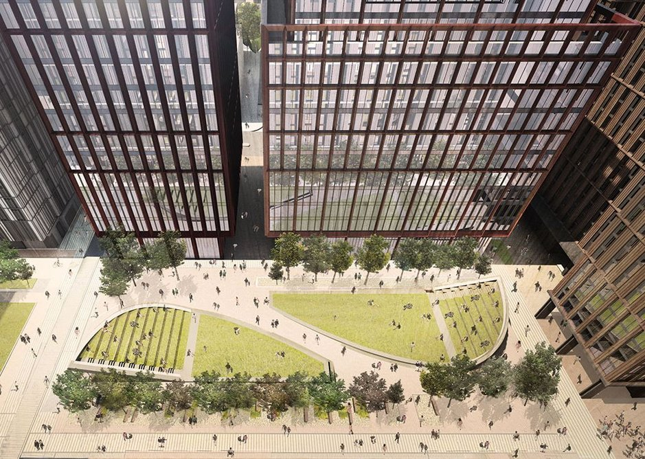 Circle Square development in Manchester with towers designed by FCBS.