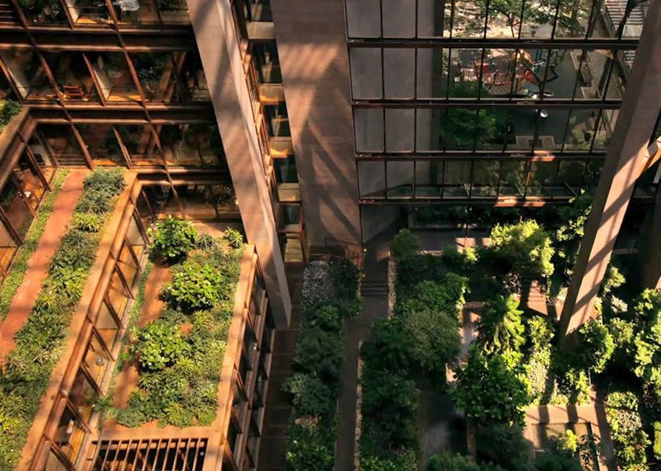 More lush planting in the atrium of the Ford Foundation building in New York City. Credit: KRJDA