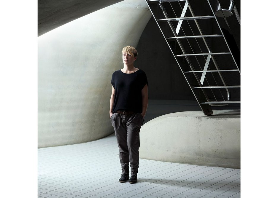 Sara Klomps of ZHA, photographed by Ivan Jones, from the exhibition Architects at the King's Cross Visitor Centre.