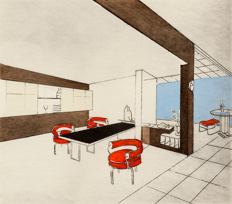 Perspective drawing by Charlotte Perriand of the dining room in the Place Saint-Sulpice apartment-studio, Paris, 1928. © AChP/ © ADAGP, Paris and DACS, London 2021. From Charlotte Perriand: The Modern Life at the Design Museum