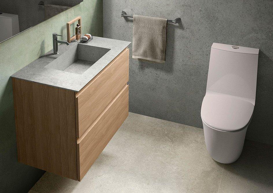 RAK-Precious Cool Grey washbasin with RAK-Joy vanity: Richer finishes provide an alternative to ceramic white.