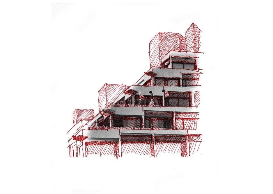 Drawing of Ziggurats, UEA by Jamie Fobert.