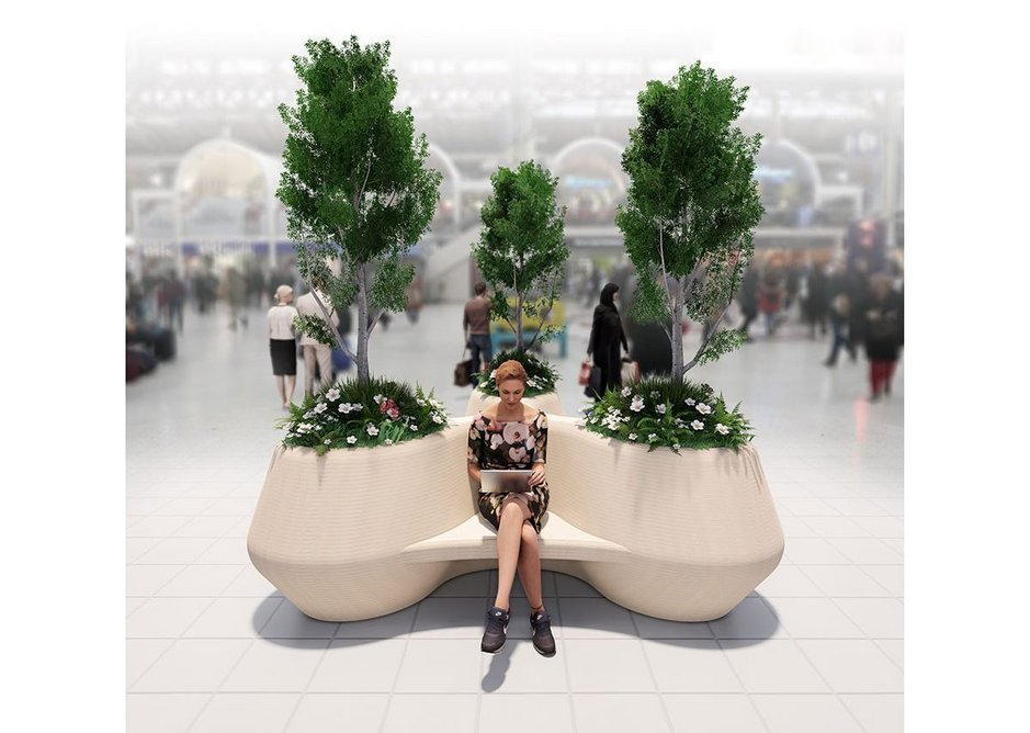 Lacuna, the Social Distance bench for Network Rail by Nick Tyrer and Victoria Philpotts.