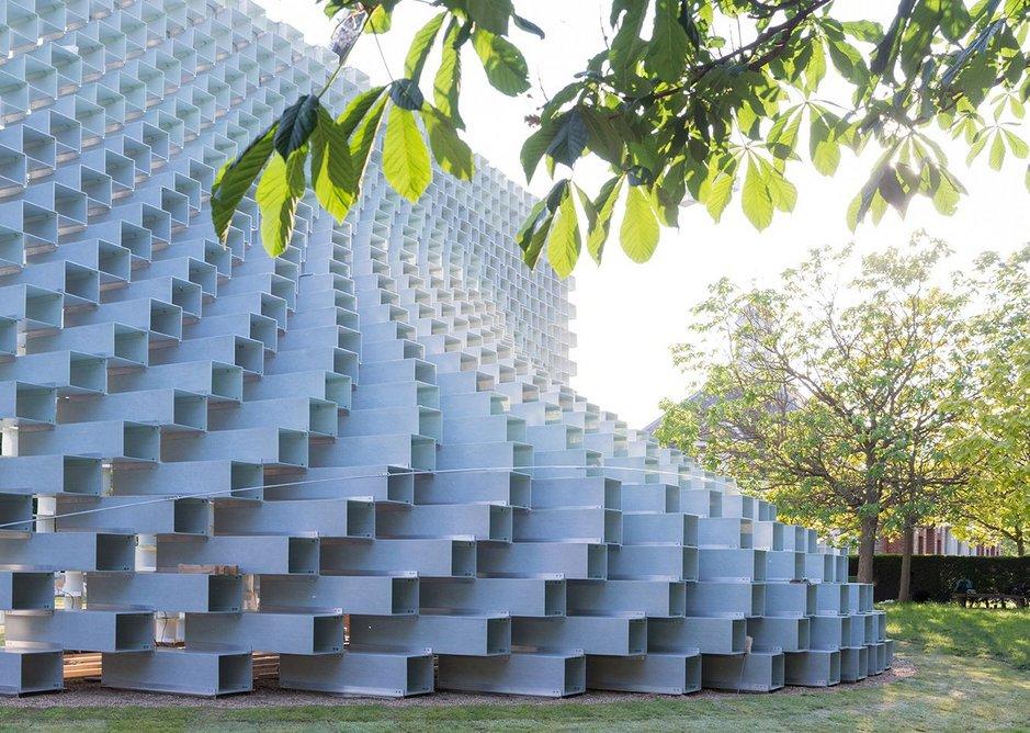 A soft curving exterior despite the fibreglass frames of its building blocks.