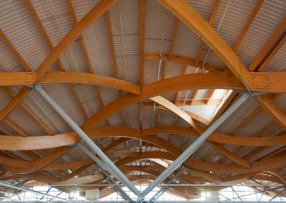 Marks & Spencer Cheshire Oaks, Ellesmere Port. Auckett Swanke architects. Featuring FSC-certified glulam timber beams on the roof and first floor.