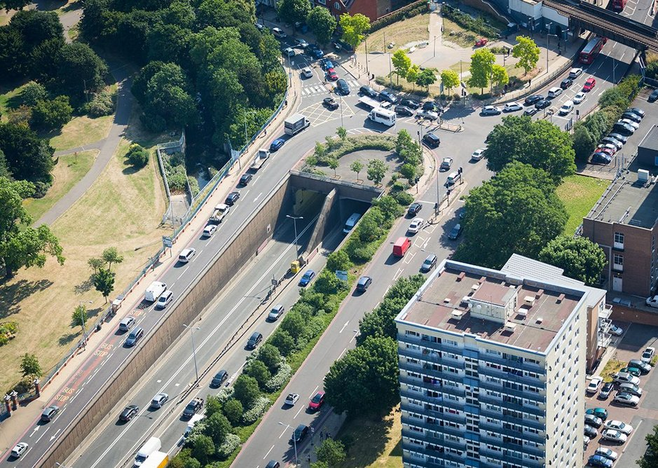 Could London do this ? Aerial view of Fore Street Tunnel. TfL Visual Services.
