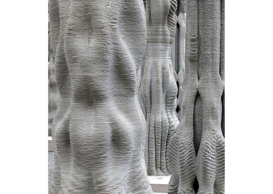 Details and surface texture of 3D printed concrete.