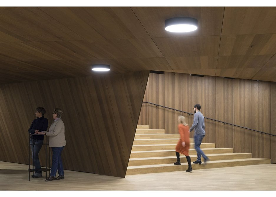 The stained oak lobby of the Recital Hall is both atmospheric and intimate.