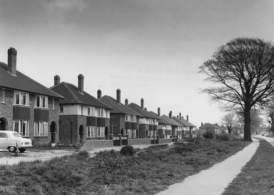 Suburban semi-detached housing on the Dereham Road, Norwich, 1956.