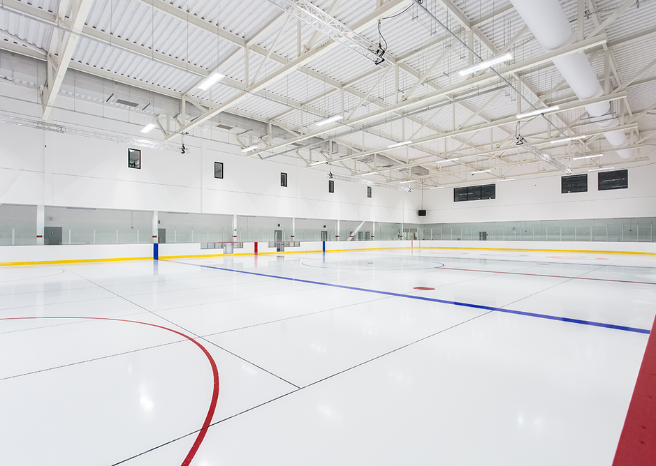 SonaSpray K-13 applied to 7,500 square metres of plasterboard and profiled deck throughout Ice Arena Wales in Cardiff. SonaSpray K-13 can be applied to virtually any configuration of substrate and will maintain its fire rating.