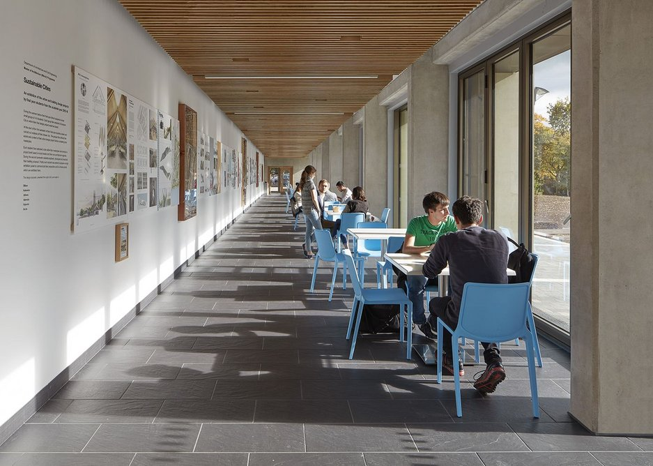 Corridor, gallery and informal café, this is the one shared space where the building looks out into the sun of the parkland.