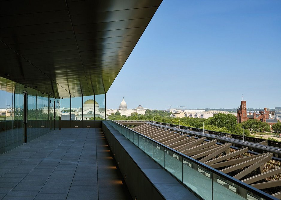 From the south side roof level terrace looking east to the Capitol.