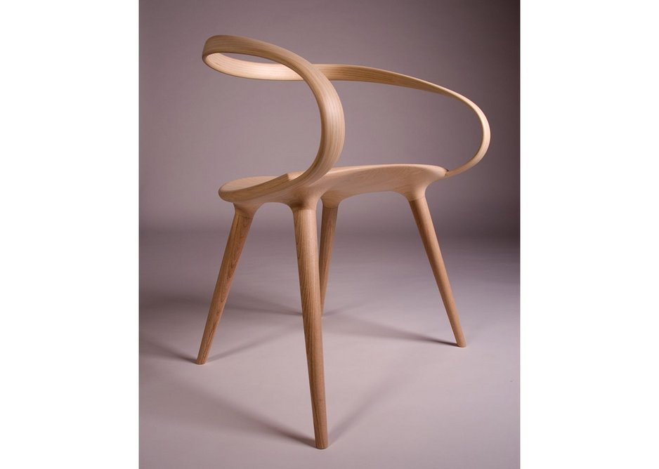 Student designer - Jan Waterston of Rycotewood Furniture Centre made this wraparound bicycle-inspired chair in English Ash and American Ash veneer.
