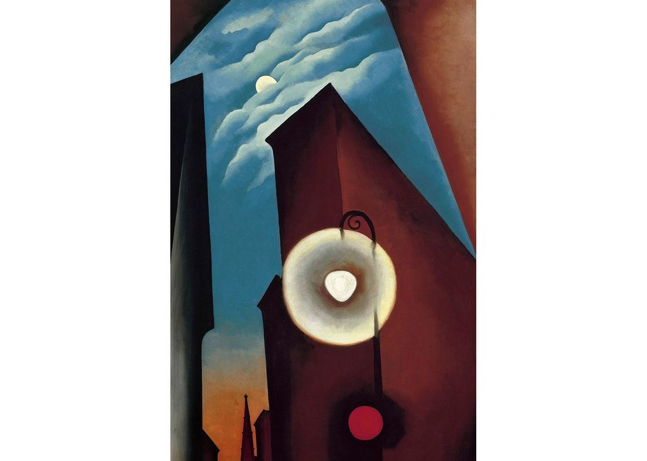 New York Street with Moon, by Georgia O'Keeffe, 1925. Carmen Thyssen-Bornemisza Collection on loan at the Museo Thyssen-Bornemisza, Madrid.