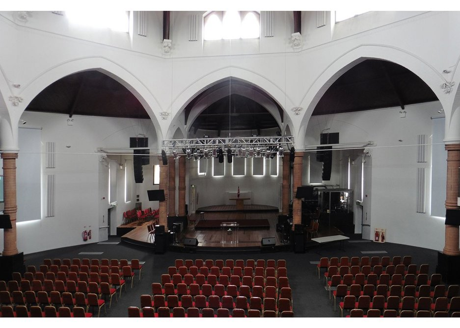 An extremely original layout design for a 1860s Victorian church, Truefitt's design for St George's Church in Tufnell Park abandons the tyrannical Puginian cross-plan, and incorporates a circular nave at 26m in diameter. Truefitt's intention was to allow the congregation to see and hear the priest clearly, rather than applying a layout that served no practical purpose apart from conforming to Pugin's doctrine of historical correctness.