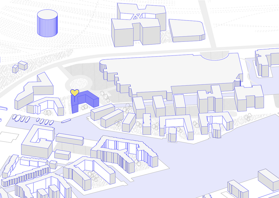 Public space in newly built Havneholmen is contained to intermittent nodes between buildings without meaningful use.