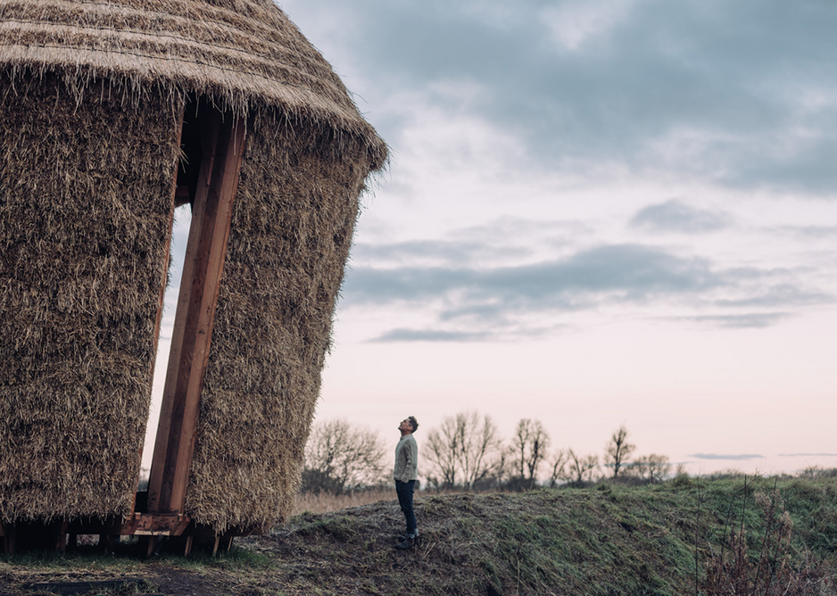 Mother, a thatched shelter inspired by traditional haystacks, designed by artists Studio Morison in the Wicken Fen Nature Reserve. Photographer: Charles Emerson