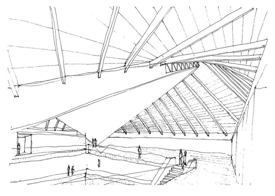 John Pawson sketch 1 - how the new building meets the old roof.