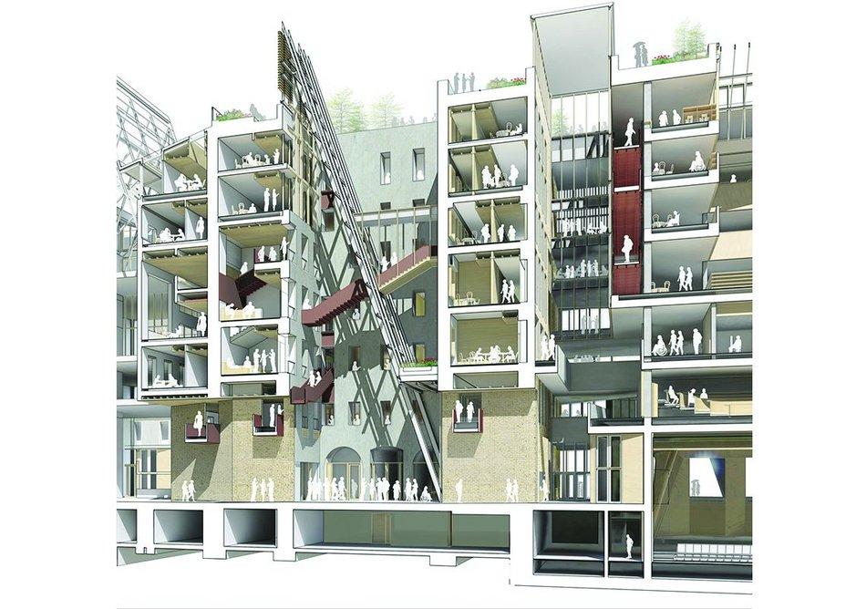 CEU 3D Nador 13 + 15 sectional perspective