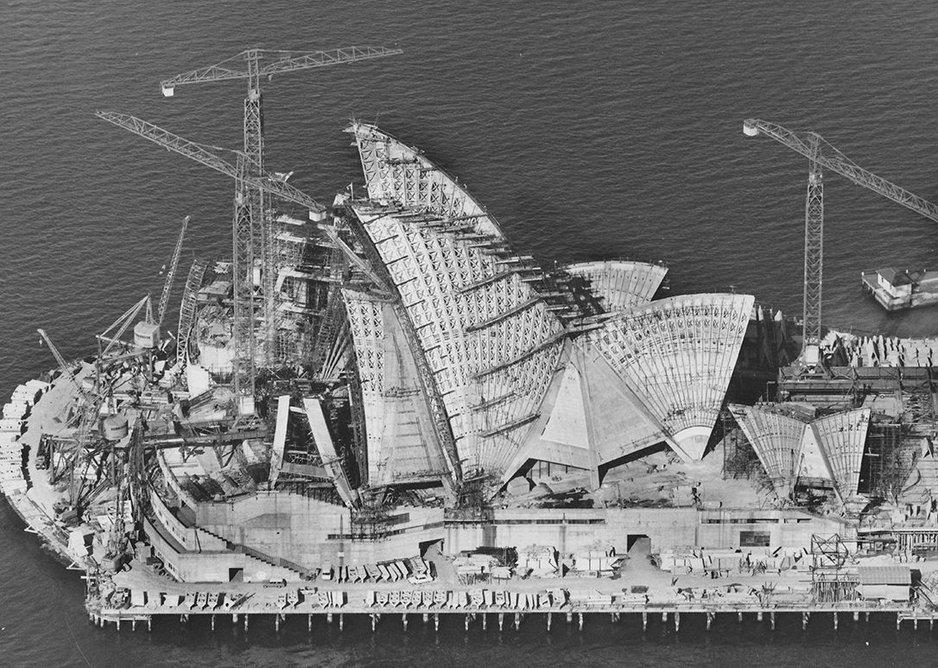Sydney Opera House under construction 6 April 1966 Robert Baudin for Hornibrook Ltd.