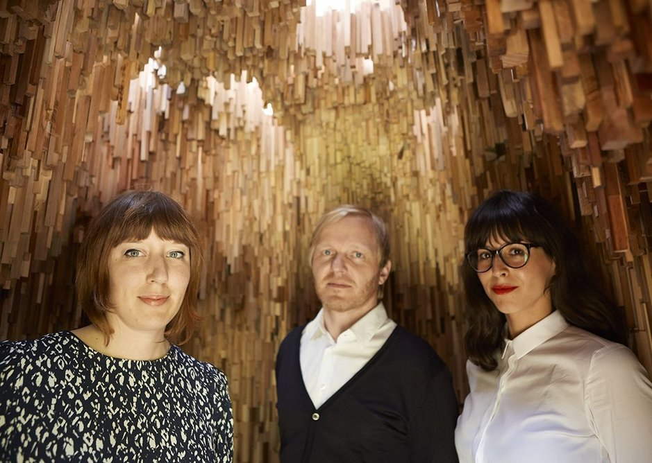 The creative team behind the Hollow installation Artist Katie Paterson (left) with architects Christoph Zeller and Ingrid Moye of Zeller & Moye,
