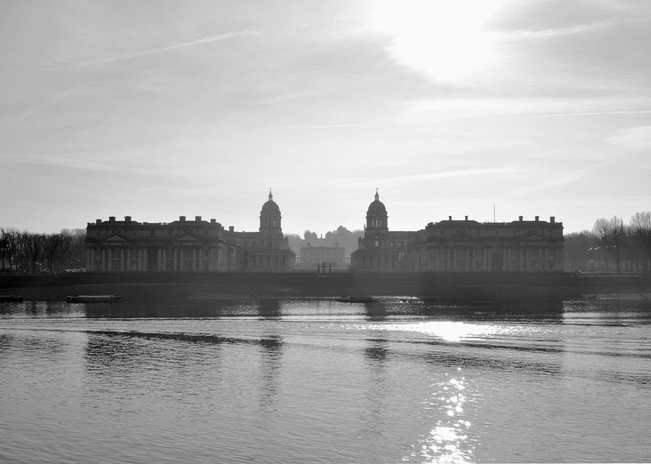 Greenwich Hospital, on a winter's morning, seen from across the Thames.