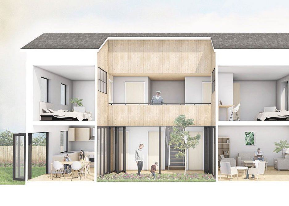 Gbolade Design Studio's r-Home, which was shortlisted for the 2019 Sunday Times British Home Awards. Designed with a garden courtyard, the affordable house is intended to be flexible in terms of size and configurations.