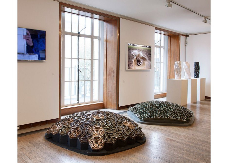 Life of Clay exhibition installation showing ceramic shell structure experiments