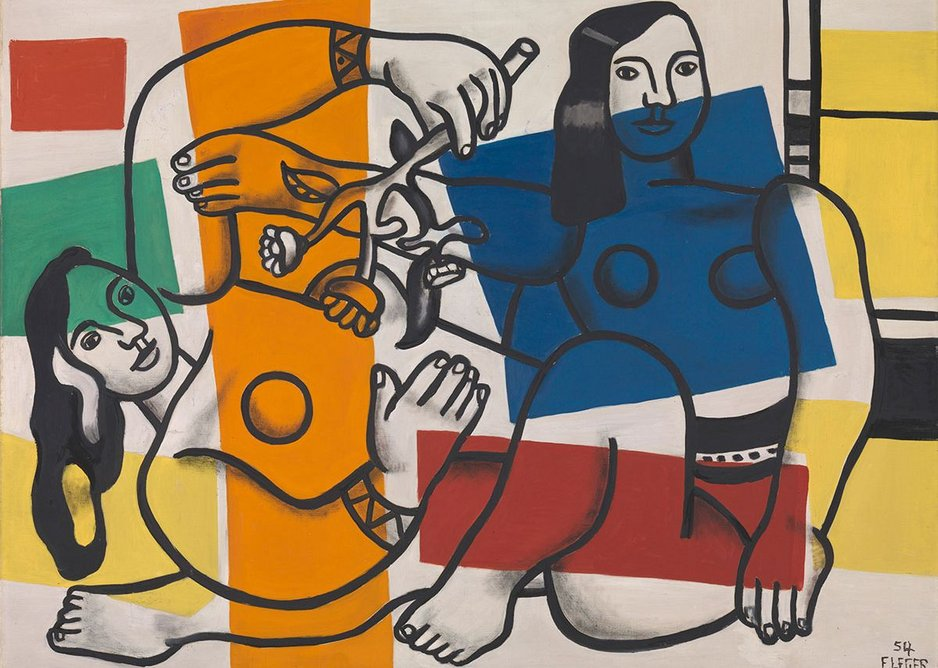 Two Women Holding Flowers 1954 by Fernand Léger, 1881-1955. Tate. Purchased 1959.