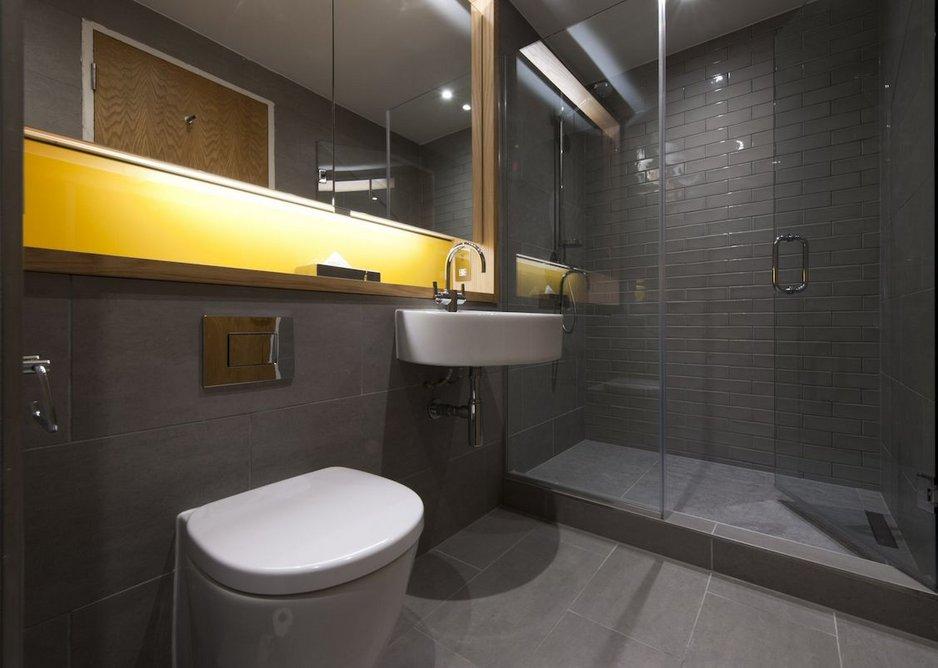 Dark grey palette of the bathrooms