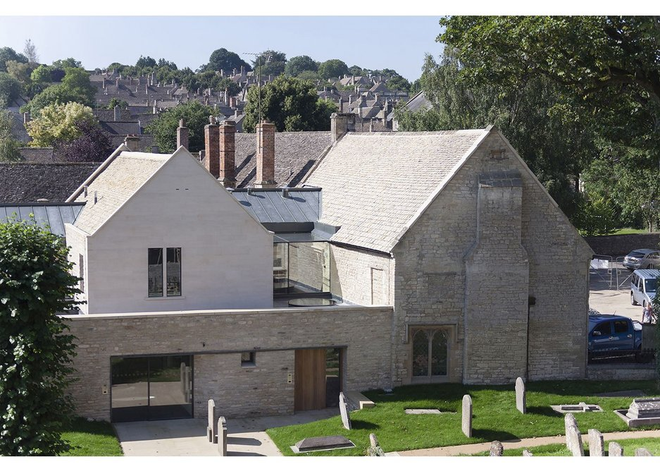 Two entrances on the churchyard allow the space to be split for different users at the community centre.