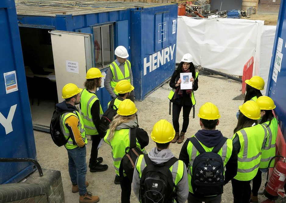 Emily Pallot leading a site visit for University of Reading students.