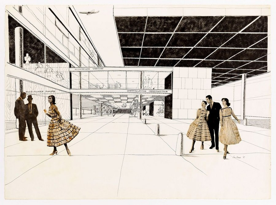 Rex Savidge, Entrance to Civic Building, Newcastle upon Tyne, 1957.