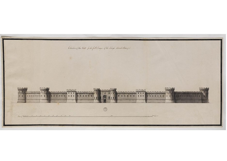 Finished drawing showing Adam's first scheme for a curtain wall around the King's Bench Prison, Southwark, 1773.