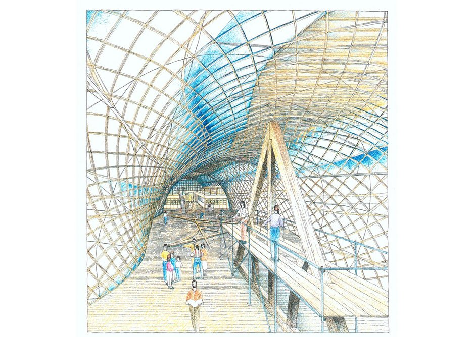 Hand drawn internal perspective of the Weald & Downland Gridshell, designed by Cullinan Studio.