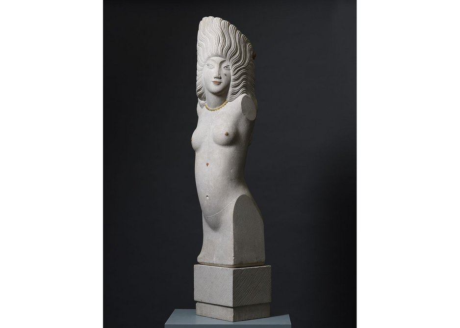 Eric Gill, 'Headdress', 1928. Beer stone with added colour. Courtesy Daniel Katz Gallery. Gill's stone carvings resembled religious icons in Ditchling's chapel-like space.