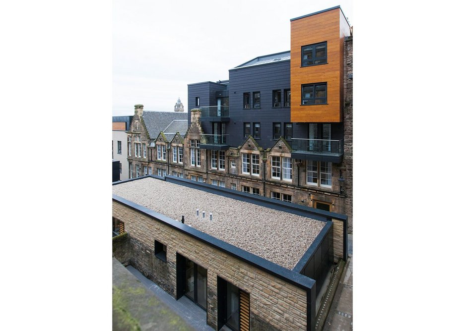 Looking north east over the architect's offices to the serviced apartments.