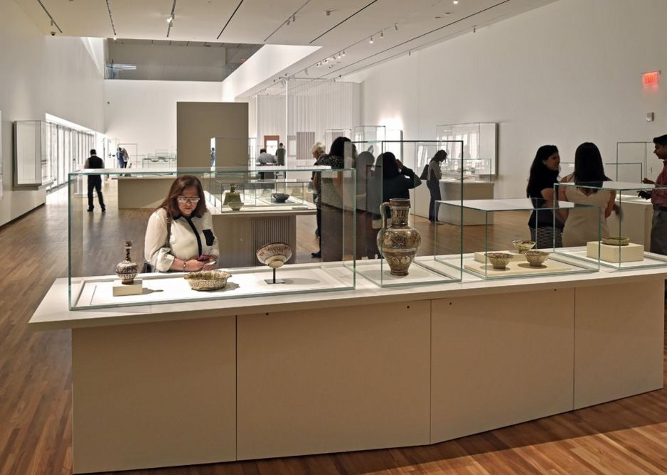 Double-height permanent collection gallery showing Maki's hexagonal angled-lens diffusers to bring in top light.