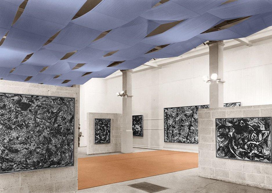 Thomas Ruff's w.g.l.03 digitally retouches a photograph of the Whitechapel Gallery's 1958 Jackson Pollock exhibition installation. w.g.l.03, 2017, C-print, 42.6 × 60 cm.