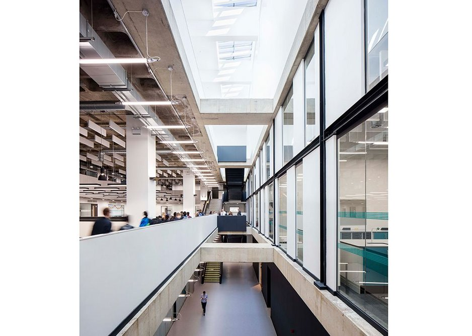 Two giant circulation spines run the length of the building.