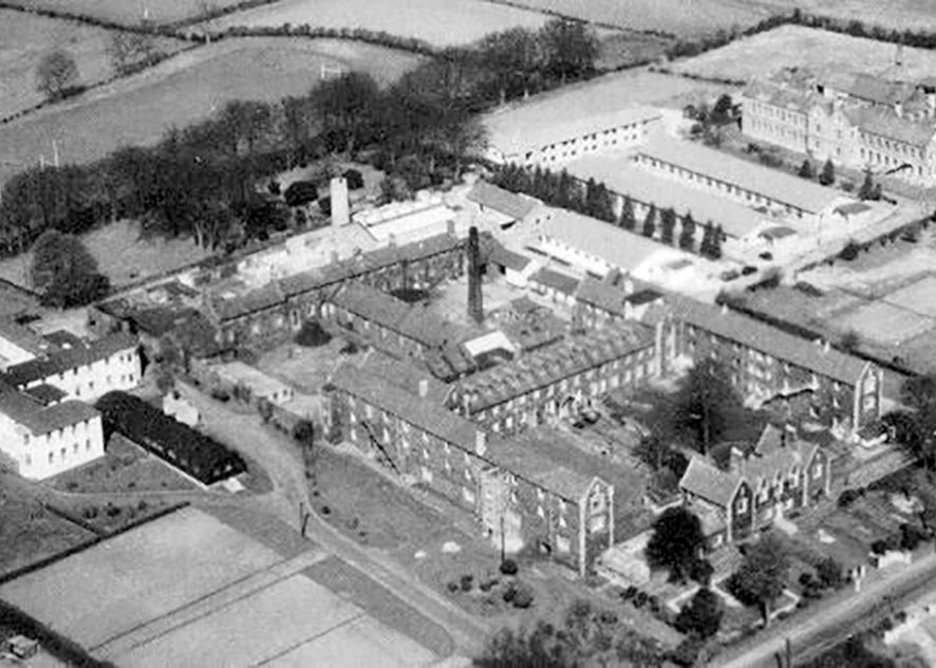 Historical image of the Braid Valley Hospital site pre-1993. Much of the original order and spaciousness of the site has been lost.