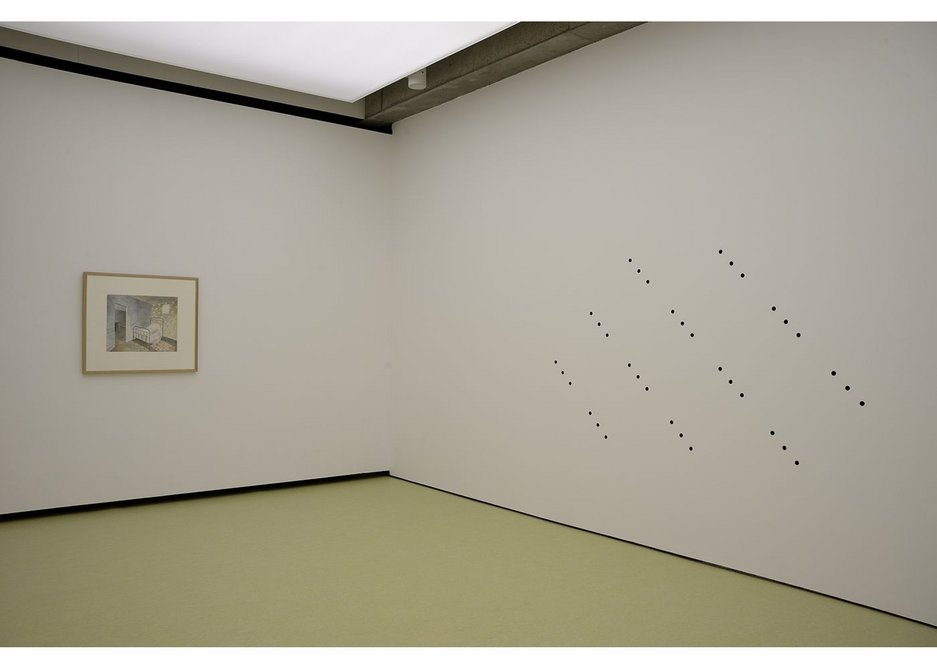 Becky Beasley OUS installation view, 2017. The pattern of holes in the wall are derived from the wallpaper pattern in The Bedstead watercolour. Towner Art Gallery, Eastbourne.