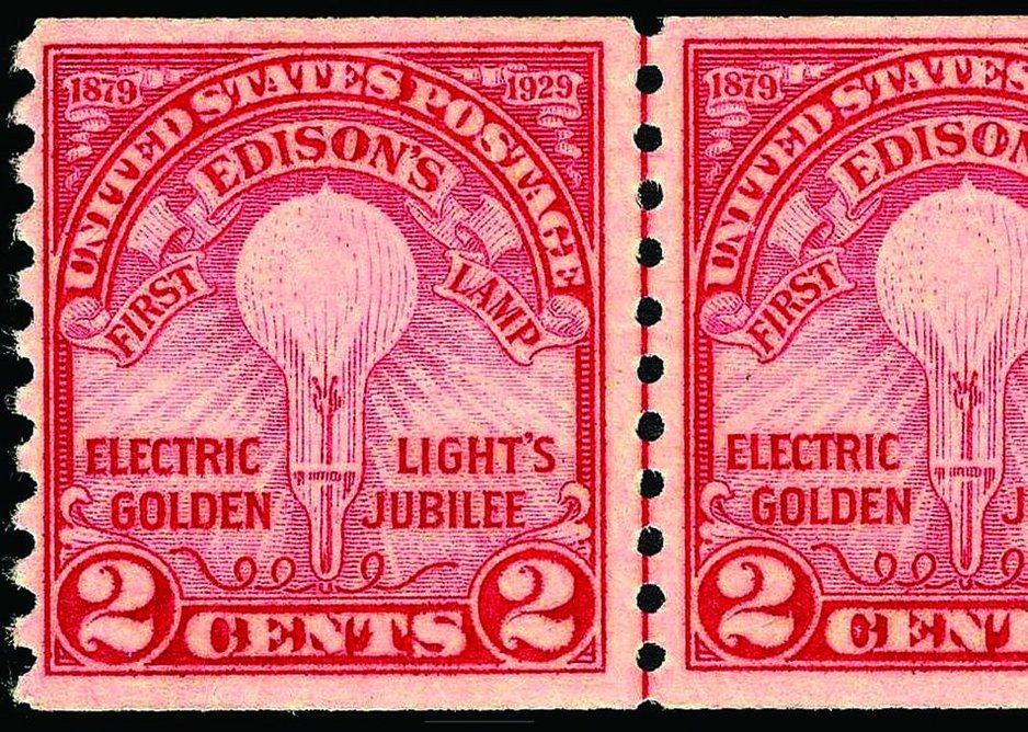 """""""Electric Light's Golden Jubilee"""" commemorative two-cent stamp, issued in 1929 by the U.S. Post Office, to celebrate the 50th anniversary of Thomas Edison's demonstration of the incandescent light bulb."""